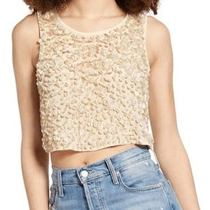 Endless Rose Sequin Pearl Crop Top XS NWT